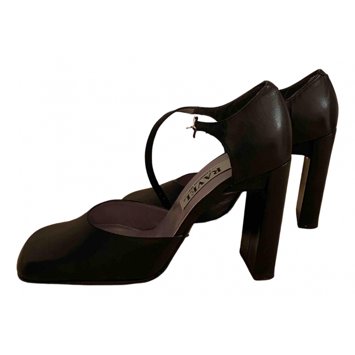 - Sandales   pour femme en cuir - noir