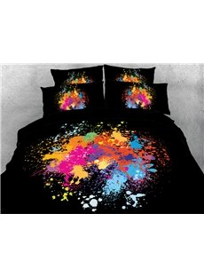 Splash-ink Painting 3D Printed 4-Piece Polyester Black Bedding Sets/Duvet Covers