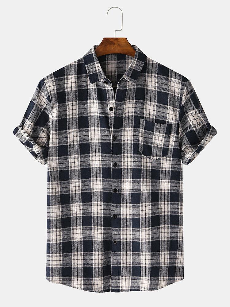 Men 63% Cotton Plaid Chest Pocket Loose Casual Short-sleeved Shirt