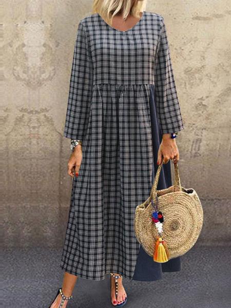 Milanoo Dark Navy Maxi Dresses Plaid V Neck Long Sleeves Cotton Long Dress