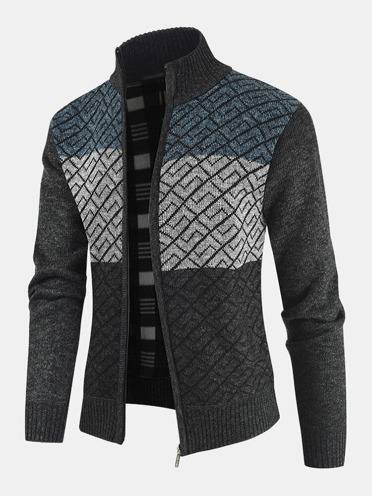 Mens Patchwork Stand Collar Knitted Thick Warm Casual Sweater Cardigan