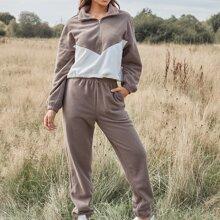 Two Tone Fleece Zip Half Plaid Sweatshirt and Sweatpants Set