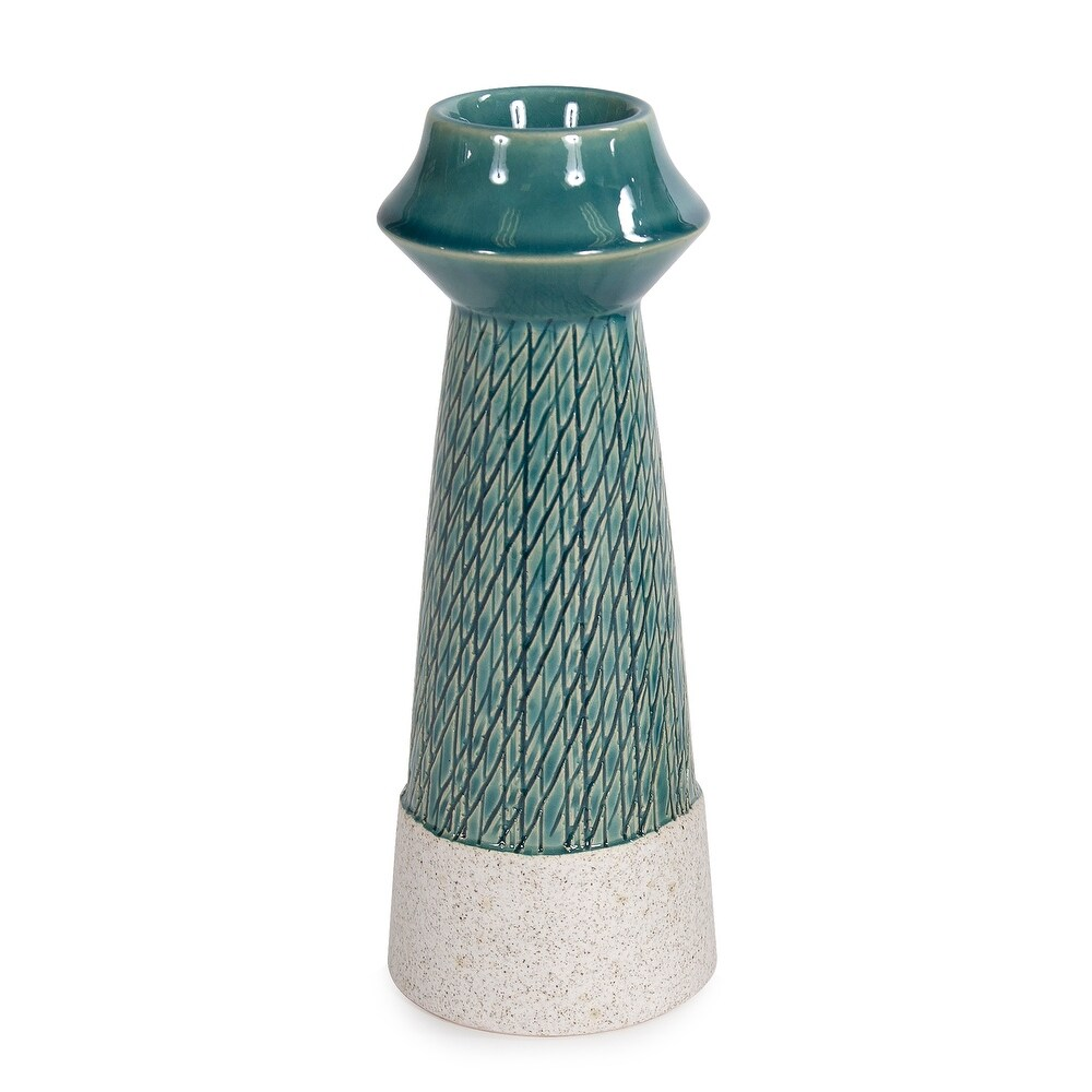 Cross Hatched Sea Blue Ceramic Candle Holder, Large - 9H x 3W x 3D (9H x 3W x 3D)