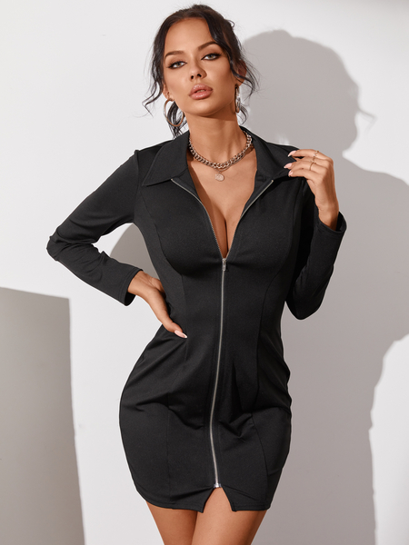 YOINS Sexy Black Zip Front Lapel Collar Long Sleeves Mini Dress