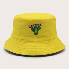 Cactus Embroidery Bucket Hat