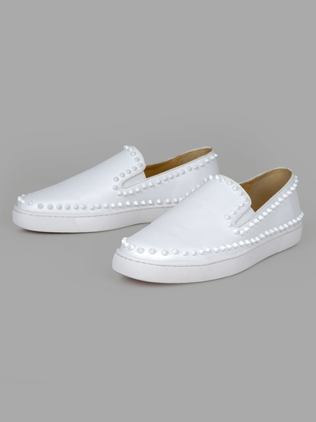 Milanoo Mens Loafer Shoes White Round Toe Rivets Slip On Shoes
