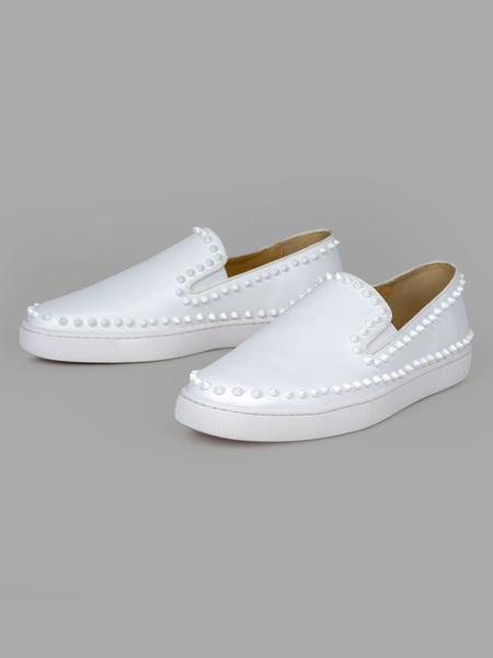 Milanoo Zapatos mocasines para hombre Zapatos blancos con remaches de punta redonda sin cordones