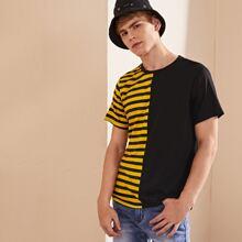 T-Shirt mit Streifen Muster und kurzen Ärmeln
