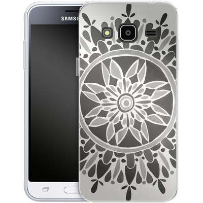 Samsung Galaxy J3 (2016) Silikon Handyhuelle - Mandala Black von Cat Coquillette