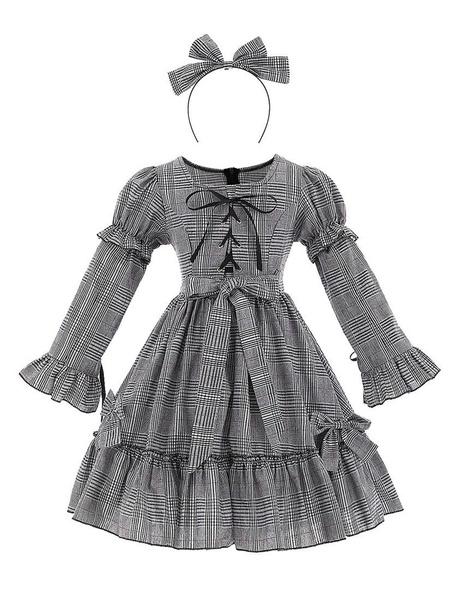 Milanoo Kids Halloween Cosplay Costumes Plaid Cotton Dresswith Headwear for Child