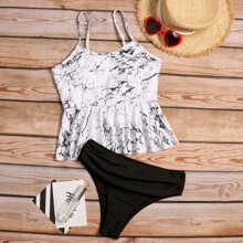 Bikini Badeanzug mit Marmor Muster
