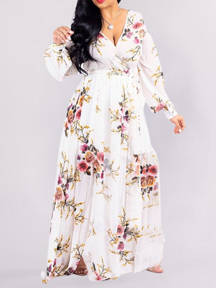 Floral Print V-neck Long Sleeve Plus Size Dress