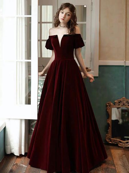 Milanoo Evening Dress A Line Off The Shoulder Short Sleeves Floor Length Laceup Pockets Velour Formal Dinner Dresses