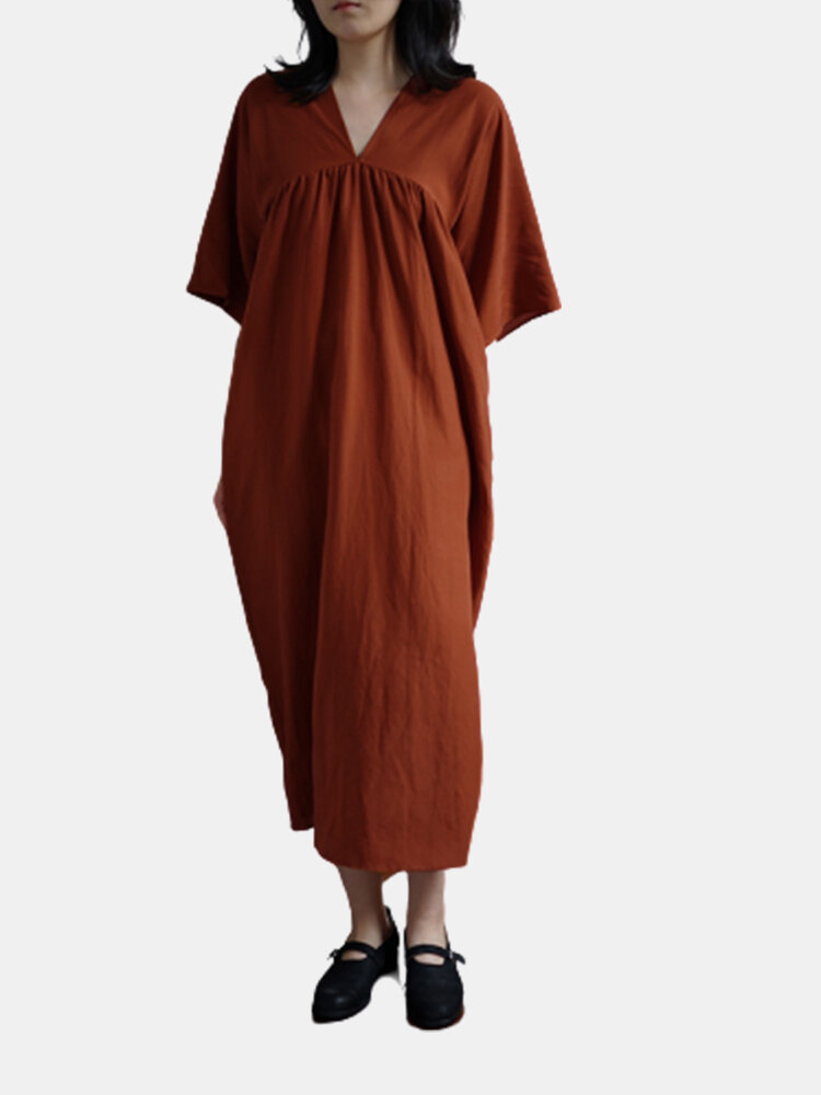 Casual Solid Color Short Sleeve Loose Plus Size Dress