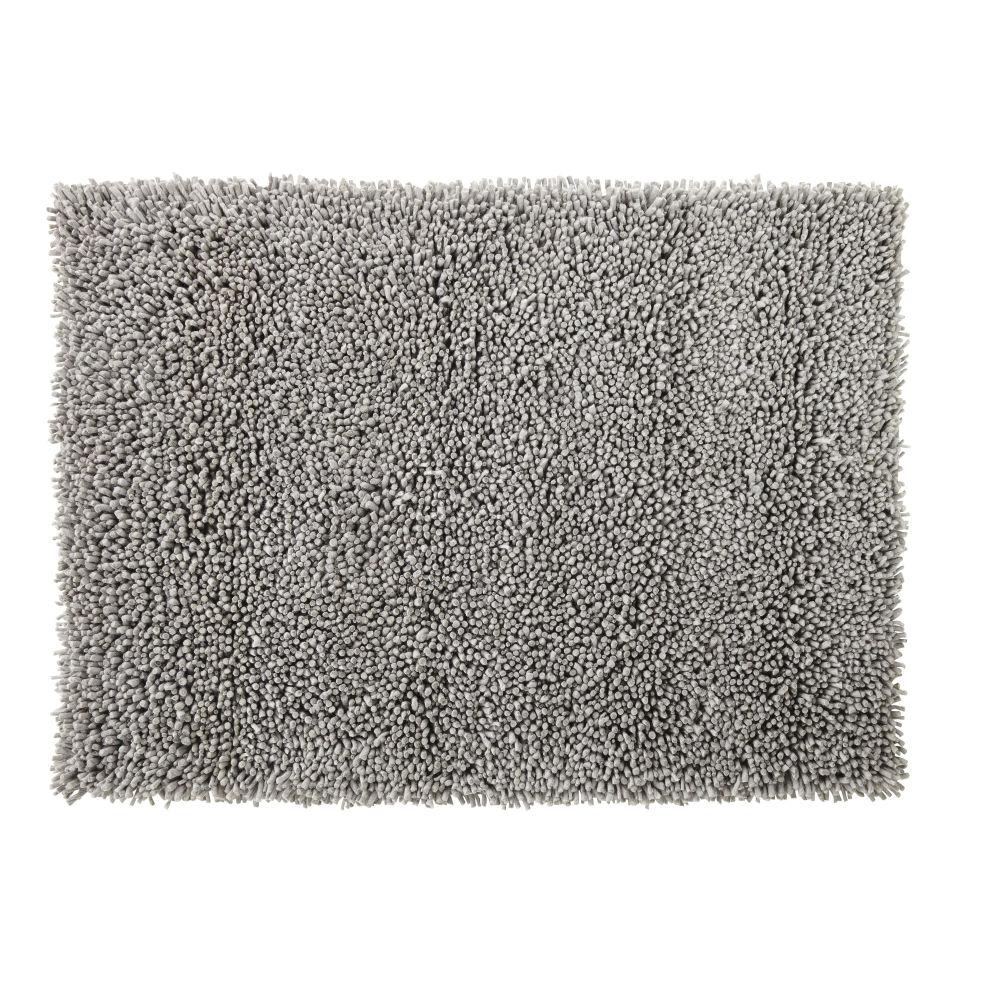 Teppich aus Wolle und Baumwolle in Grau mit Shaggy-Effekt 140x200
