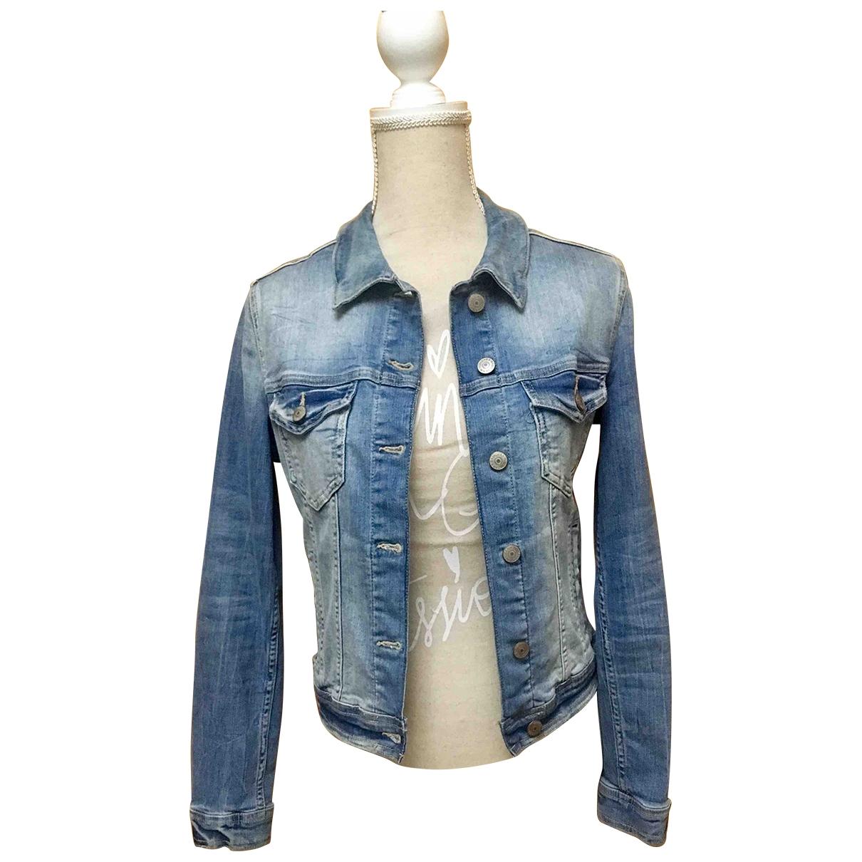 Zara \N Lederjacke in  Blau Denim - Jeans