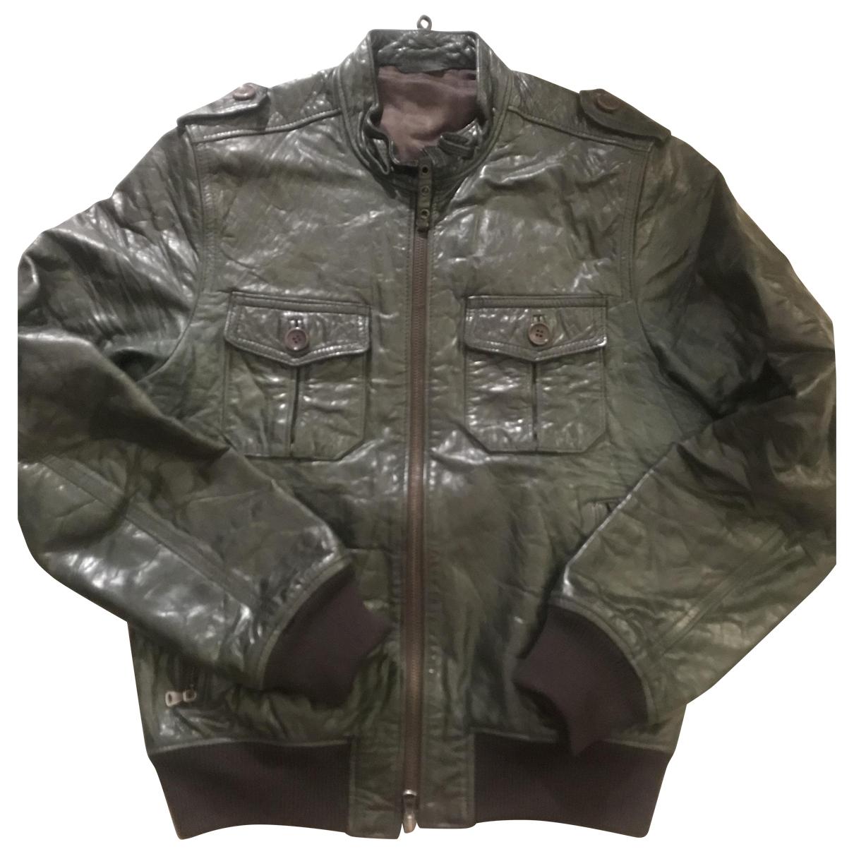 Daniele Alessandrini \N Green Leather jacket  for Men 48 IT