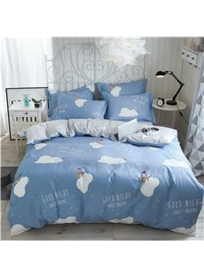 Cartoon Bear Printed 4-Piece Blue Bedding Sets/Duvet Covers