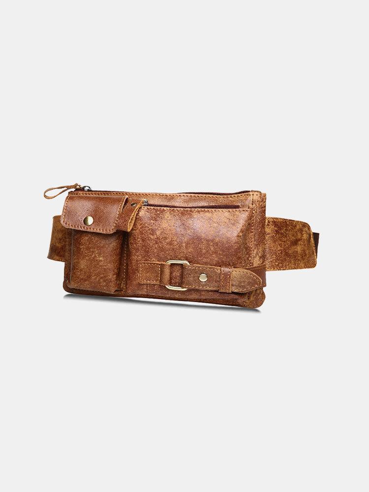 Men Retro Genuine Leather Large CapacityCrossbody Bag Chest Bag Sling Bag