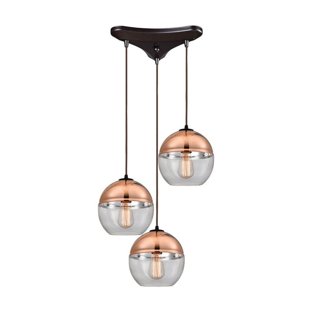 Dolhelyg - Three Light Triangular Pendant  Oil Rubbed Bronze Finish with Clear/Copper-Plated Glass (Oil Rubbed Bronze)