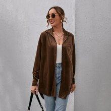 Samt Mantel mit Stufensaum und Taschen Flicken