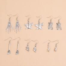 6pairs Ghost Charm Drop Earrings