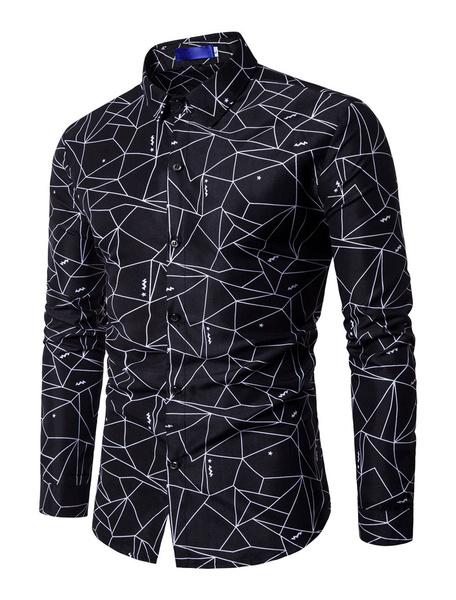 Milanoo Camisas casuales de algodon mezclado de cuello vuelto con manga larga con estampado estilo modernoPrimavera