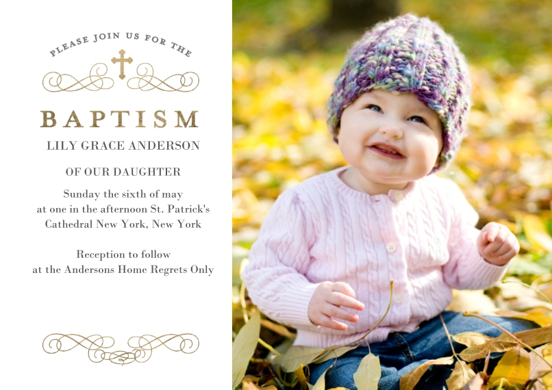 Baptism Invitations 5x7 Cards, Premium Cardstock 120lb with Scalloped Corners, Card & Stationery -Baptism Cross Classic