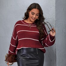 Plus Drop Shoulder Stripe Sweater