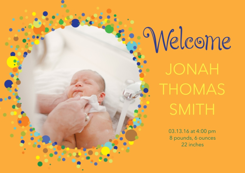 Newborn 5x7 Cards, Premium Cardstock 120lb with Rounded Corners, Card & Stationery -Bubbly Baby Announcement Boy