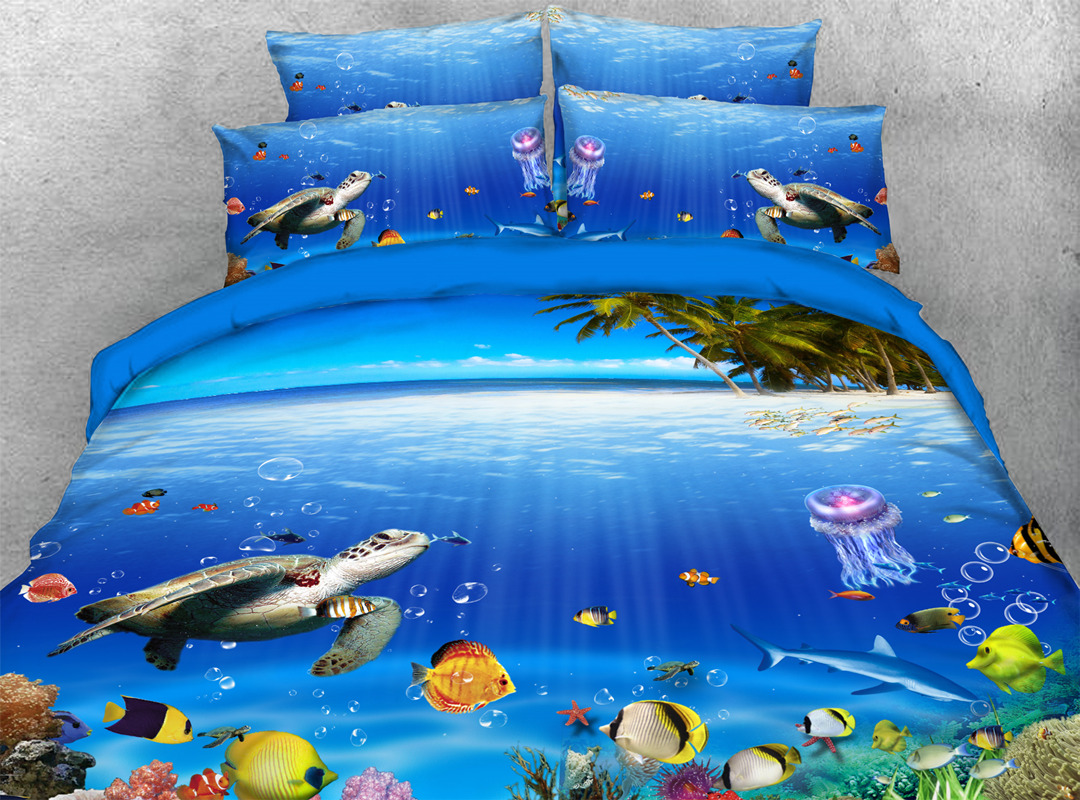 Tropical Sea Fish and Turtle in The Blue Limpid OceanHand Wash Reactive Printing Duvet Cover Set Four-Piece Set Polyester Bedding Sets
