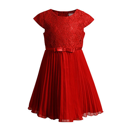 Emily West Little Girls Short Sleeve Party Dress, 5 , Red