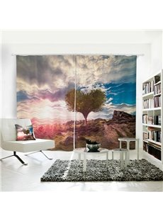 Heart Shaped Tree Mountain and Blue Sky with White Clouds Pattern 3D Polyester Curtain