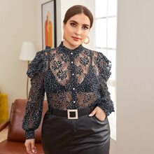 Plus Mock-Neck Puff Sleeve Dot Lace Blouse Without Bra