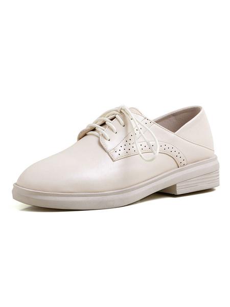 Milanoo Zapatos Oxford de mujer Zapatos casuales con cordones y punta redonda de marfil