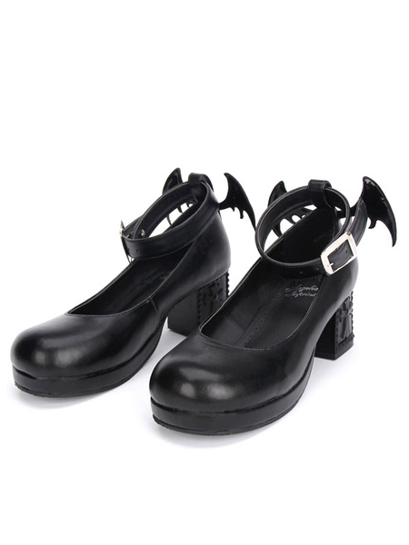 Milanoo Gothic Lolita Shoes Black Cross Mary Jane Ankle Strap Gothic Lolita Shoes Kitten Heels Pumps With Evil Wing