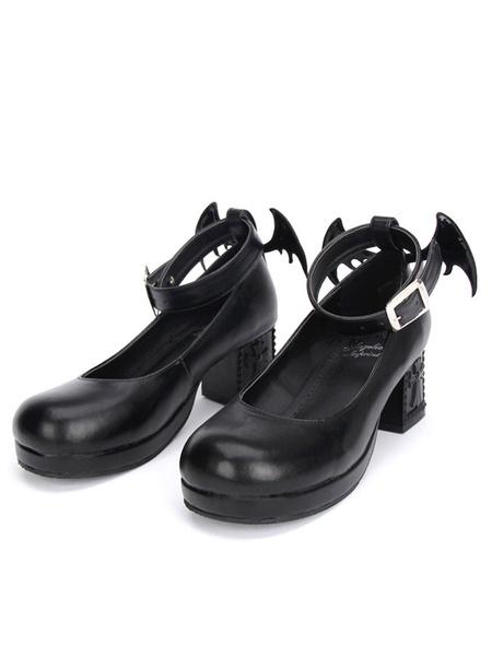 Milanoo Gothic Lolita zapatos negro Cruz Mary Jane tobillo correa Gothic Lolita zapatos Kitten Heels bombas con ala mal