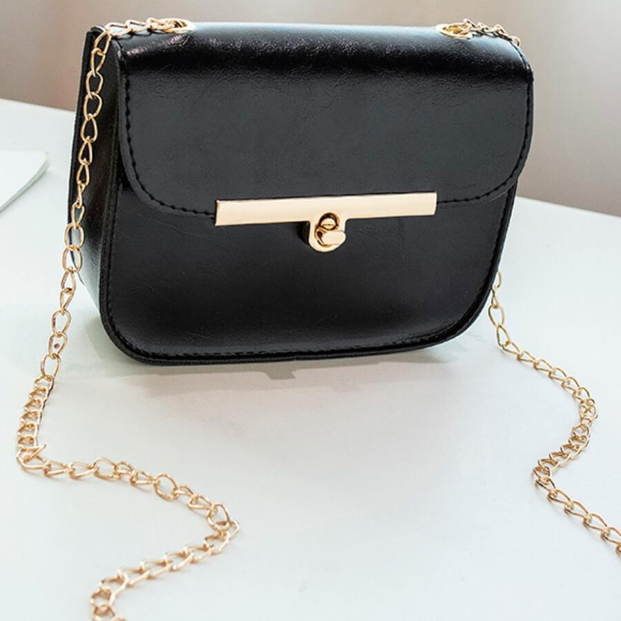 LW Lovely Trendy Chain Strap Black Crossbody Bag