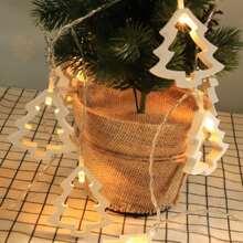 1 Stueck Lichtkette und 10 Stuecke Birne mit Weihnachtsbaum Design