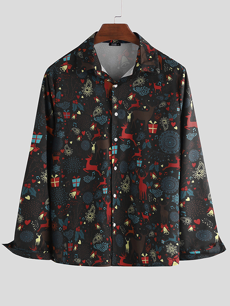 Yoins INCERUN Men Christmas Print Long Sleeve Lapel Shirt Funny Casual Button Blouse