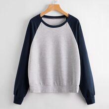 Colorblock Ralgan Sleeve Sweatshirt
