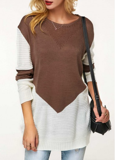 Trendy Side Slit Long Sleeve Color Block Sweater - S