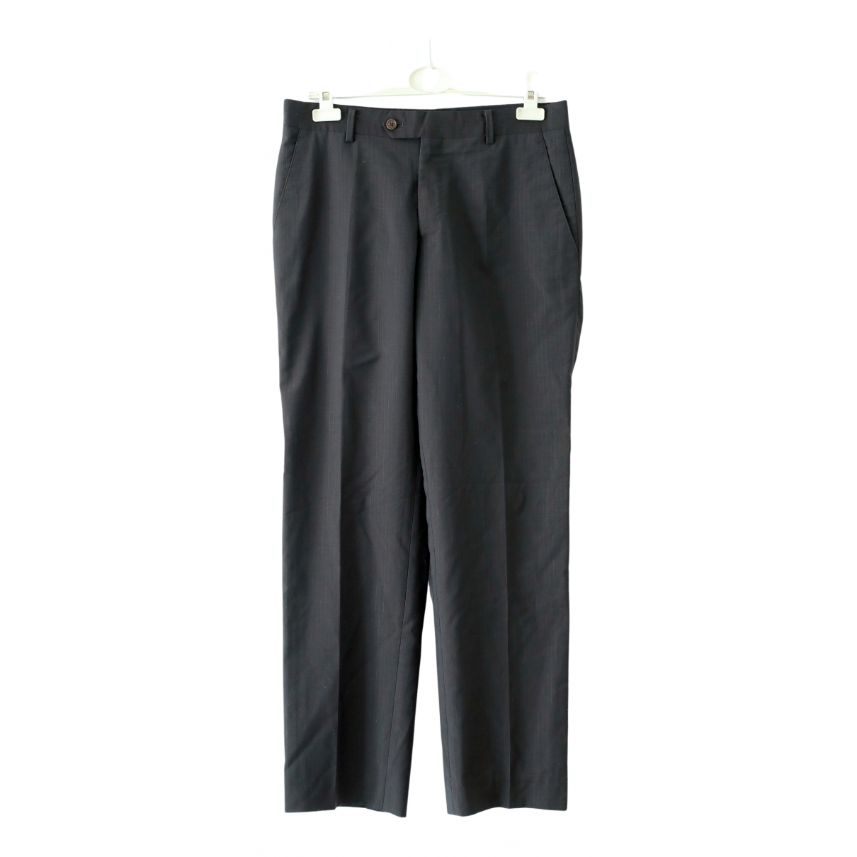 Balmain N Anthracite Wool Trousers for Women 40 FR