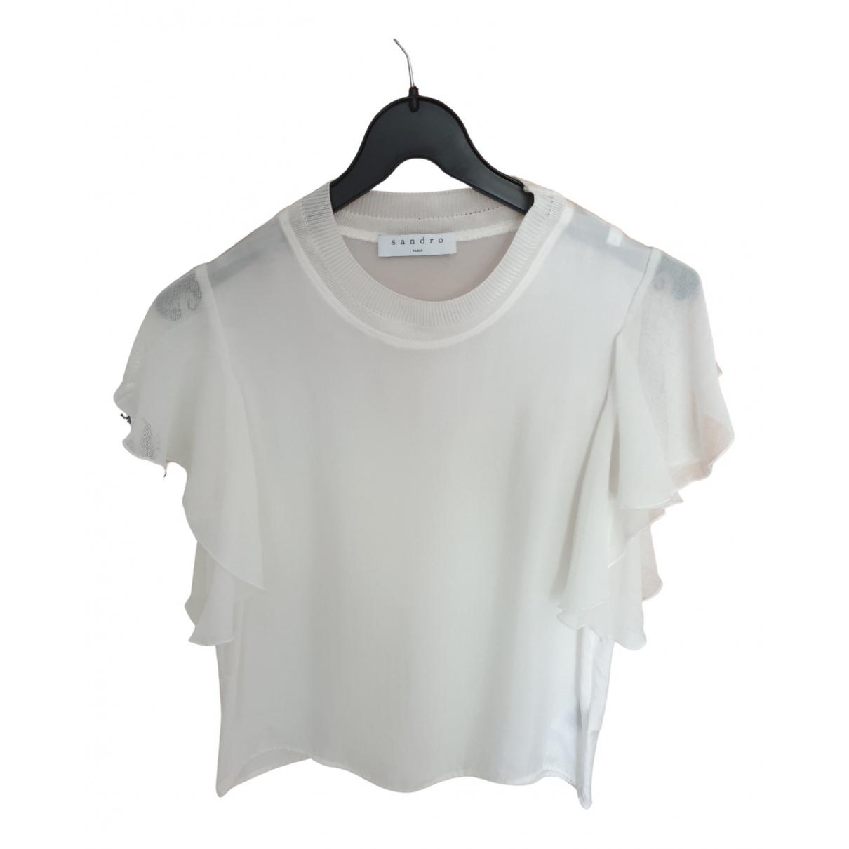Sandro - Top   pour femme en coton - blanc
