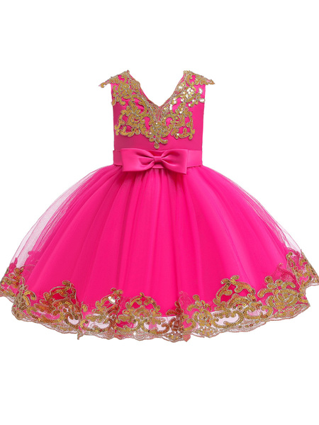 Milanoo Flower Girl Dresses V-Neck Tulle Short Sleeves Knee Length Princess Silhouette Embroidered Kids Party Dresses