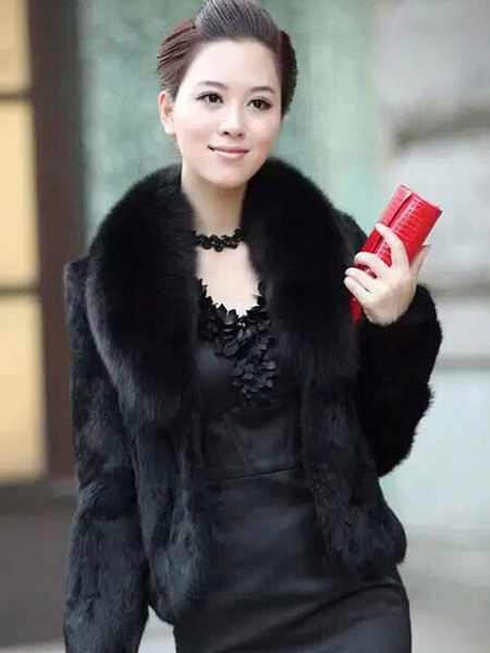 Milanoo Women\'s Faux Fur Coats Long Sleeves Sexy Windbreaker Layered Stand Collar White Coat