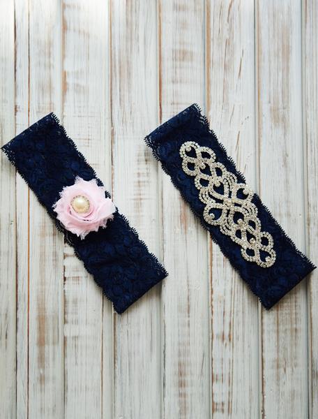 Milanoo Lace Wedding Garter Dark Navy Flower Rhinestones Beaded Bridal Garter