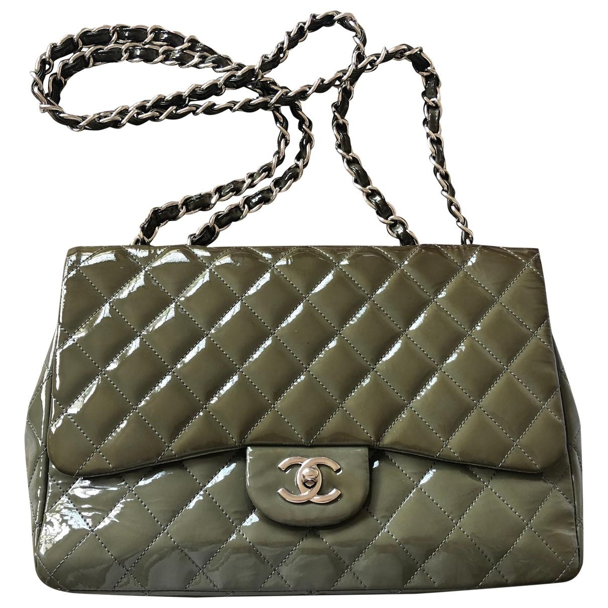 Chanel Timeless/Classique Khaki Patent leather handbag for Women \N