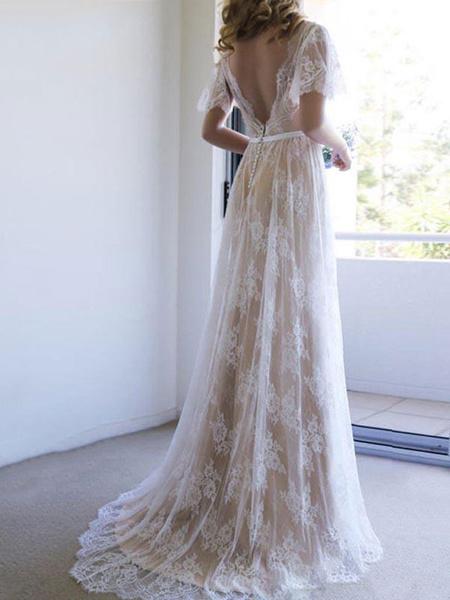 Milanoo simple wedding dress 2020 v neck a line short sleeve deep v backless lace bridal gowns
