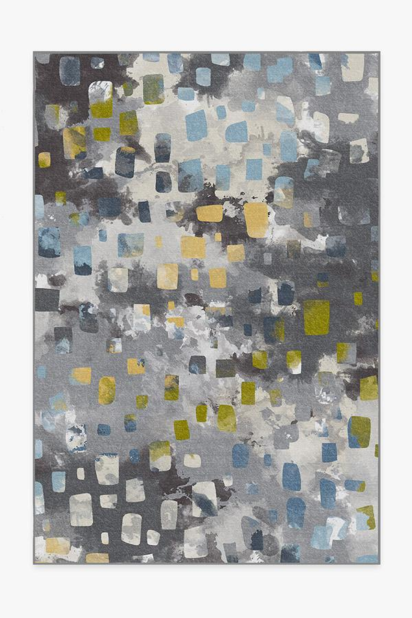 Washable Rug Cover | Watercolor Paintwork Grey Rug | Stain-Resistant | Ruggable | 6'x9'